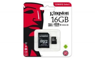 "Memóriakártya, microSDHC, 16GB, CL10/U1, 80/10MB/s, adapter, KINGSTON ""Canvas Select"""